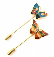 Two Vintage Cloisonne Enamel Butterfly Stick Pins.